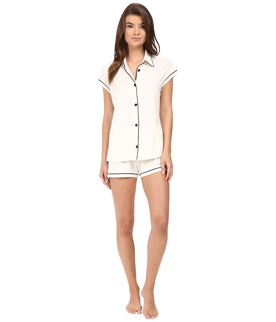 Cosabella - Bella Cap Sleeve Top Boxer Set (Ivory/Black) Women's Pajama Sets