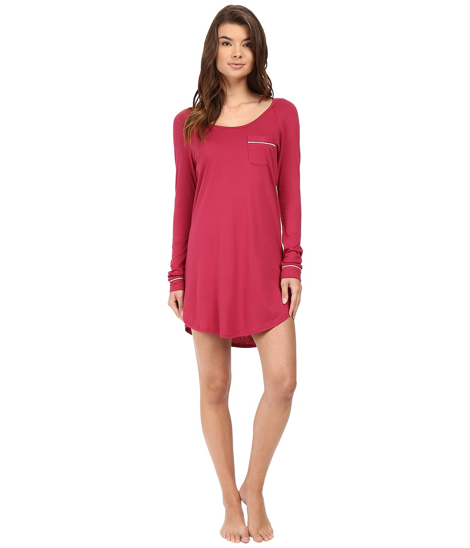 Cosabella - Bella Long Sleeve Sleep Dress (Deep Ruby/Ivory) Women's Pajama