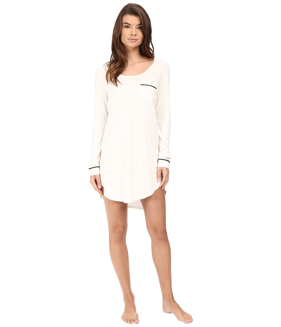 Cosabella - Bella Long Sleeve Sleep Dress (Ivory/Black) Women's Pajama