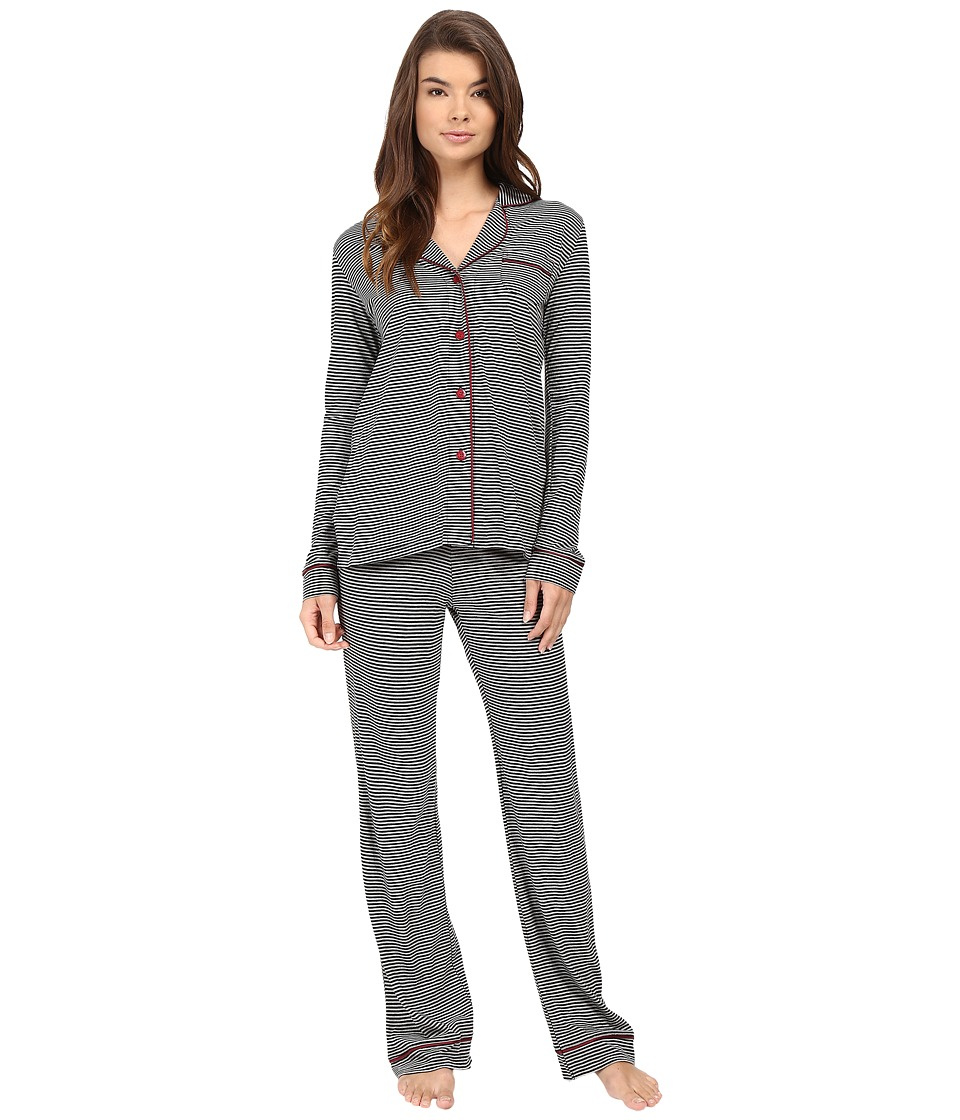 Cosabella - Bella Texture Long Sleeve Top and Pants AMORS9641 (Black/Deep Ruby) Women's Pajama Sets