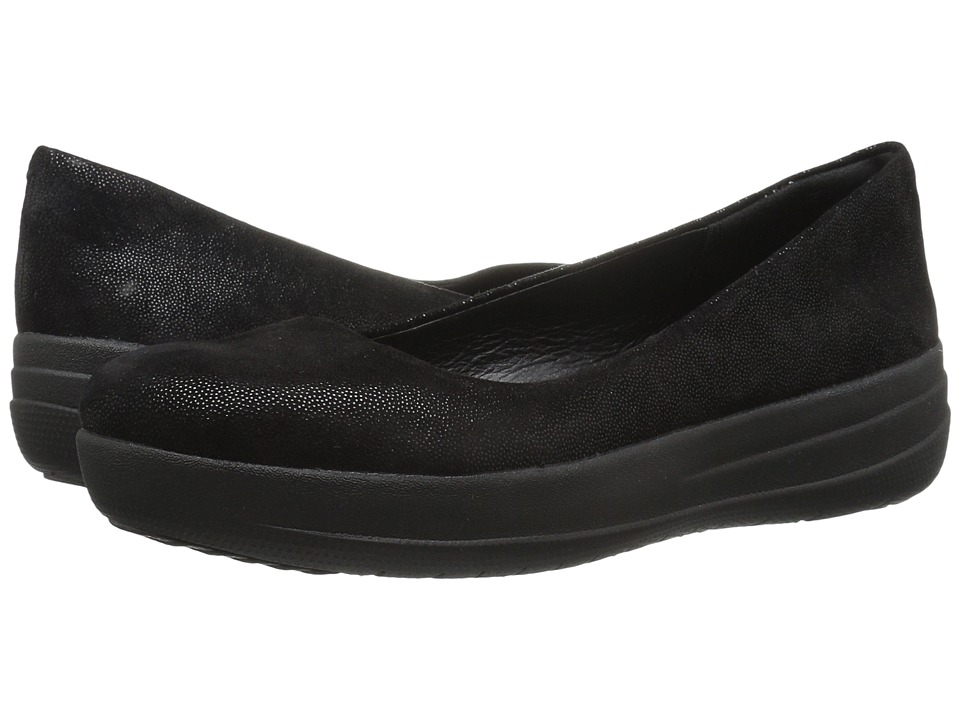 FitFlop - F-Sporty Ballerina (Black Glimmer) Women's Shoes