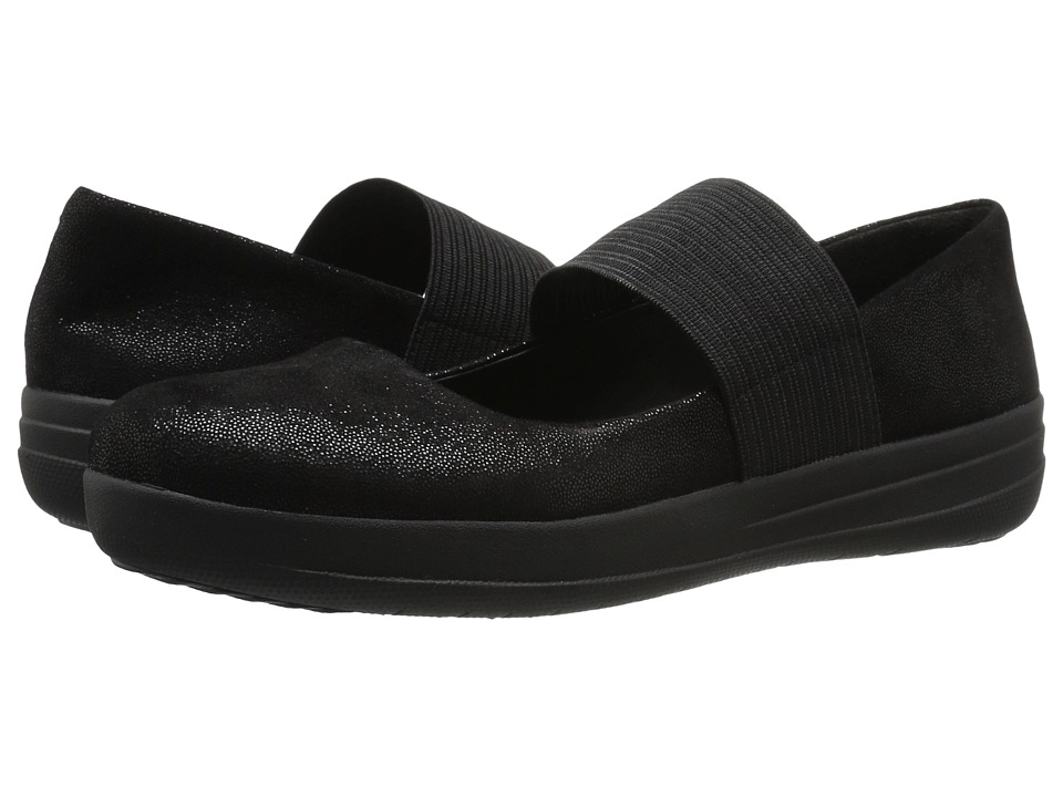 FitFlop F-Sporty Mary Jane Black Glimmer Womens  Shoes