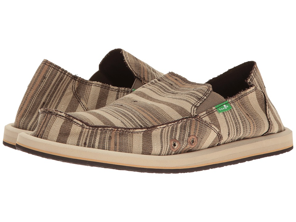 Sanuk - Donny (Brown Vintage Denim Stripe) Men's Slip on Shoes