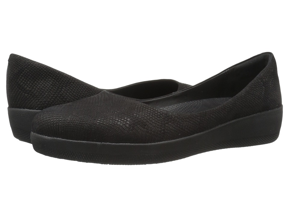 FitFlop - Superballerina (Black Snake Embossed) Women's Shoes