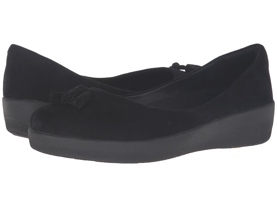 FitFlop - Suede Tassel Superballerina (Black) Women's Shoes