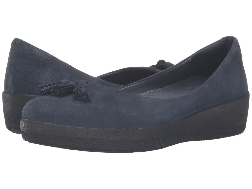 FitFlop Suede Tassel Superballerina Super Navy Womens  Shoes