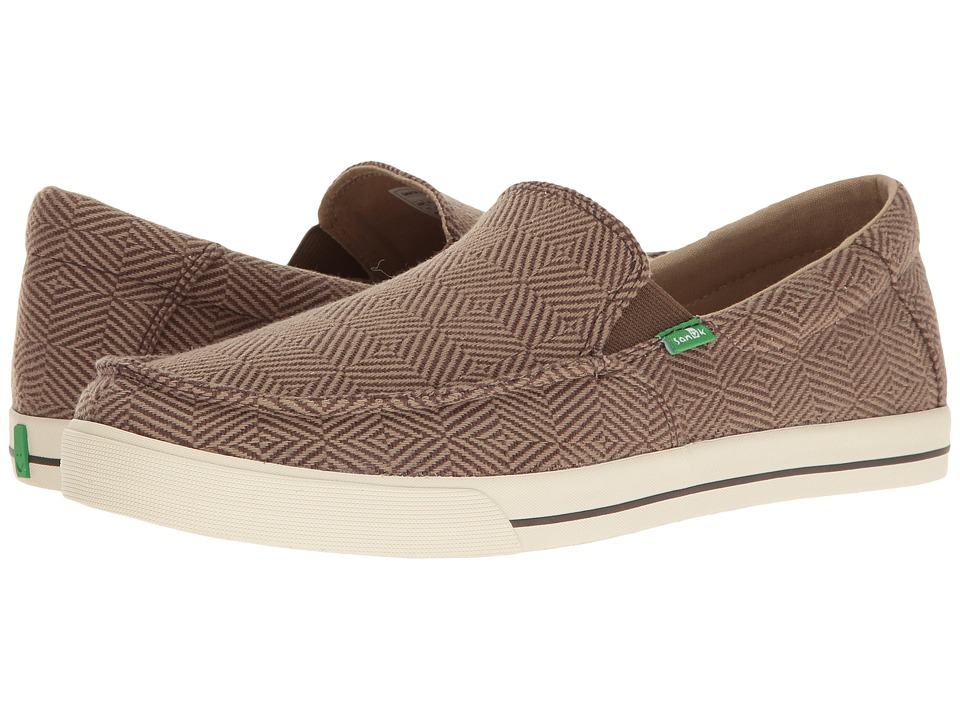 Sanuk - Sideline Checked (Brown Checked) Men's Slip on Shoes