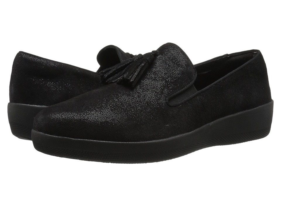 FitFlop - Tassel Superskate (Black Glimmer) Women's Slip on Shoes