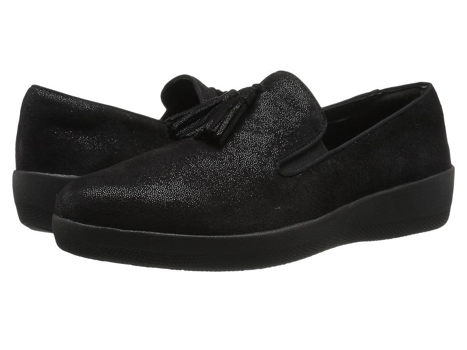 FitFlop - Tassel Superskate (Black Glimmer) Women's Slip on Shoes