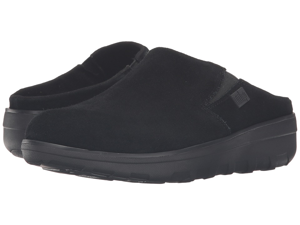FitFlop - Loaff Suede Clogs (Black) Women's Shoes