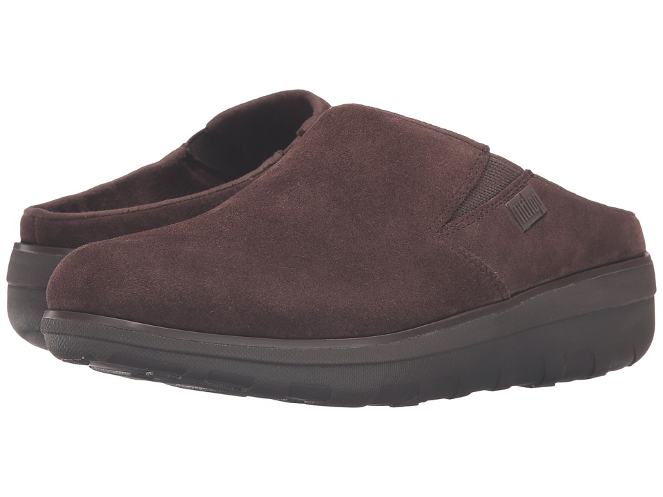 FitFlop - Loaff Suede Clogs (Chocolate) Women's Shoes