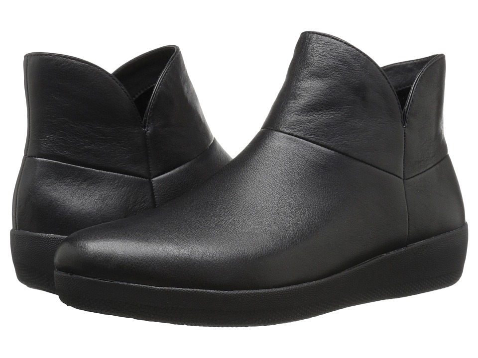FitFlop - Supermod Leather Ankle Boot (Black) Women's Boots