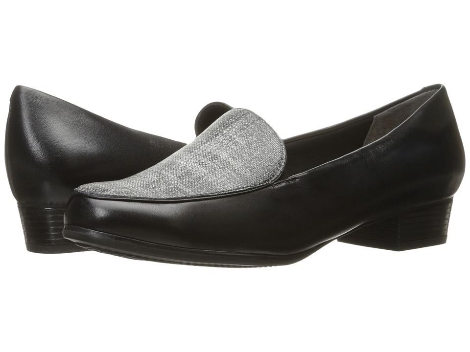 Trotters - Monarch (Black/Black/White Linen) Women's Shoes