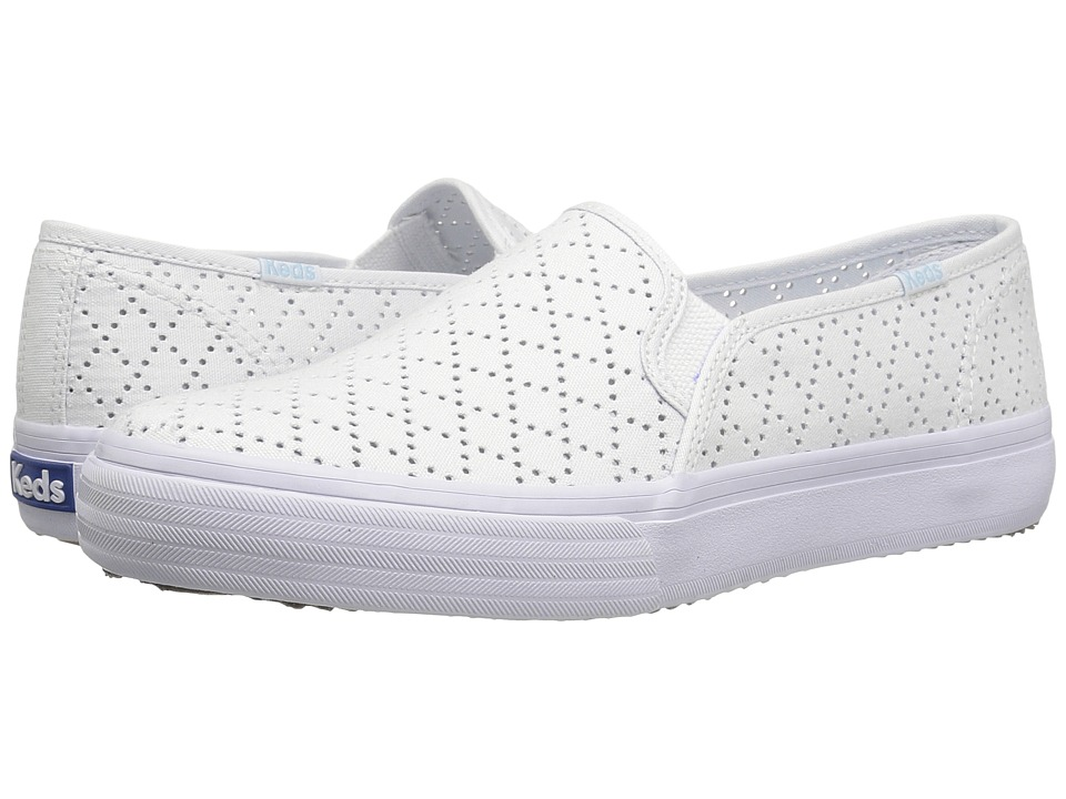 Keds - Double Decker Perforated Canvas (White) Women's Slip on Shoes