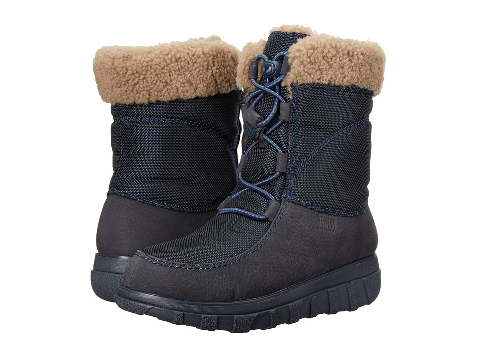 FitFlop - Loaff Waterproof Lace-Up Boot (Super Navy) Women's Boots