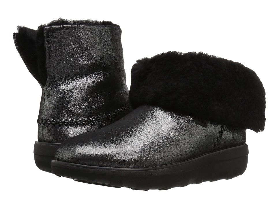 FitFlop Mukluk Shorty 2 Shimmer Boot Black Womens  Boots