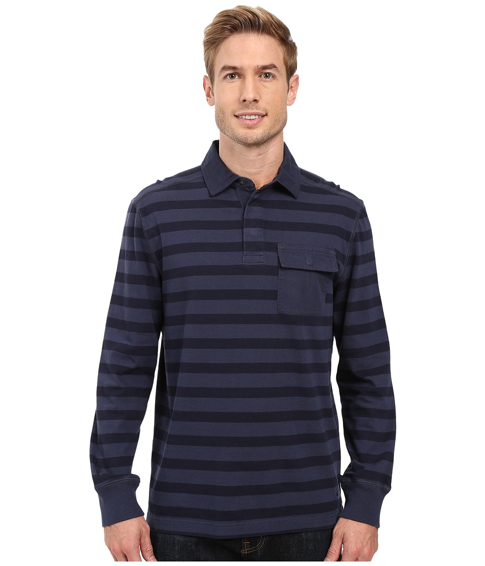 Nautica - Long Sleeve Shipman Stripe Polo (Mood Indigo) Men's Long Sleeve Pullover