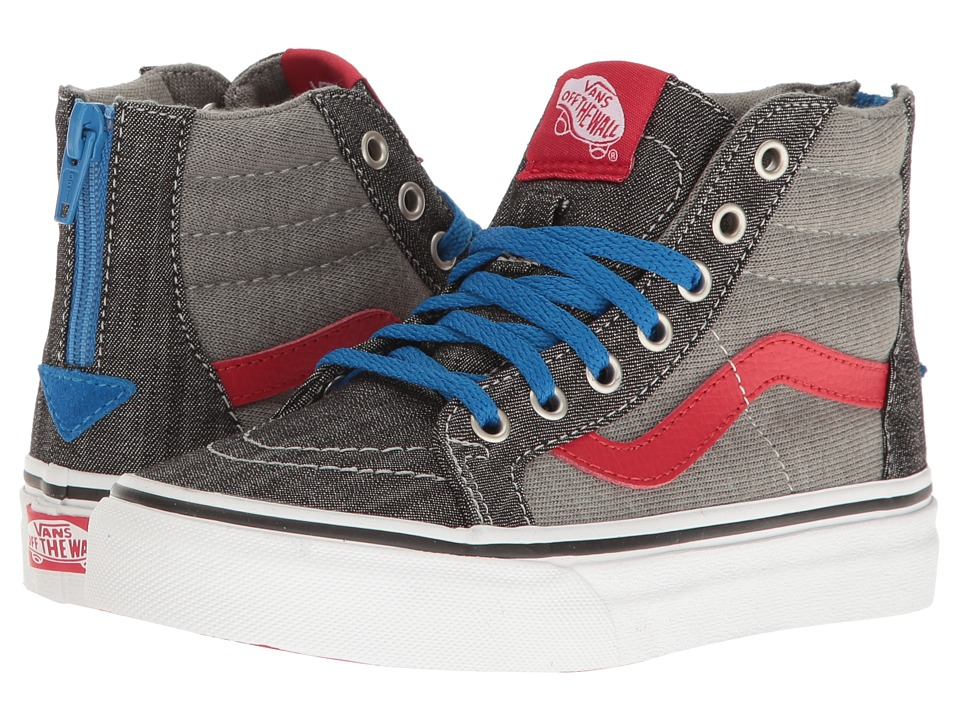 Vans Kids - Sk8-Hi Zip (Little Kid/Big Kid) ((Jersey & Denim) Racing Red/True White) Boys Shoes