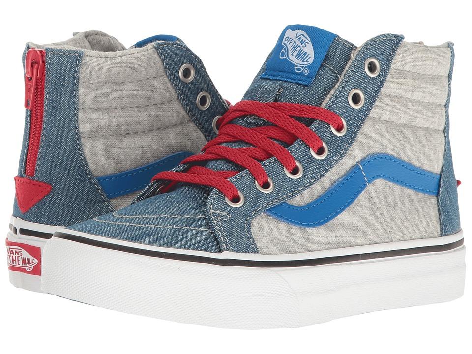 Vans Kids - Sk8-Hi Zip (Little Kid/Big Kid) ((Jersey & Denim) Imperial Blue/True White) Boys Shoes