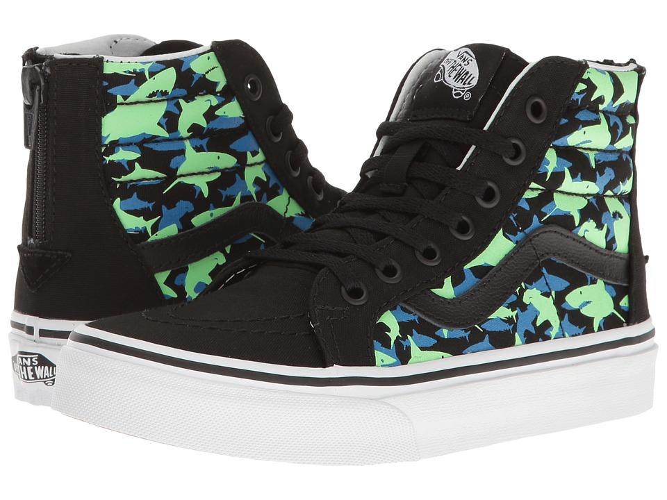 Vans Kids Sk8-Hi Zip Glow (Little Kid/Big Kid) ((Glow Shark) Black/True White) Boys Shoes
