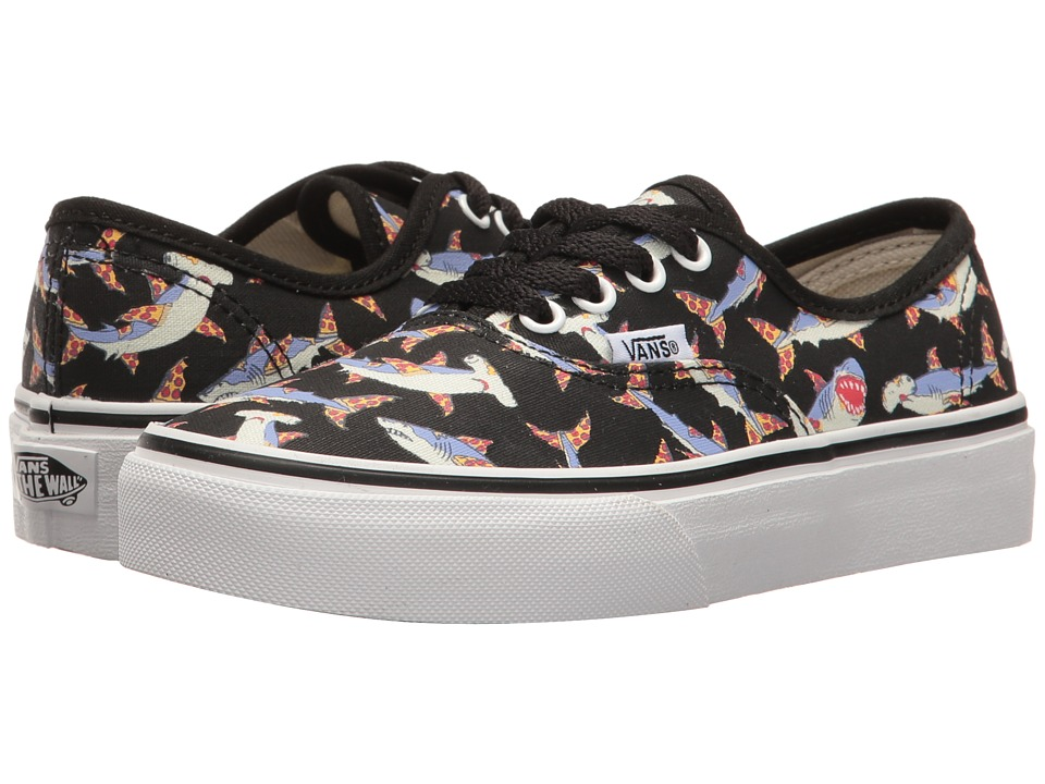 Vans Kids Authentic (Little Kid/Big Kid) ((Pizza Sharks) Black/True White) Boys Shoes