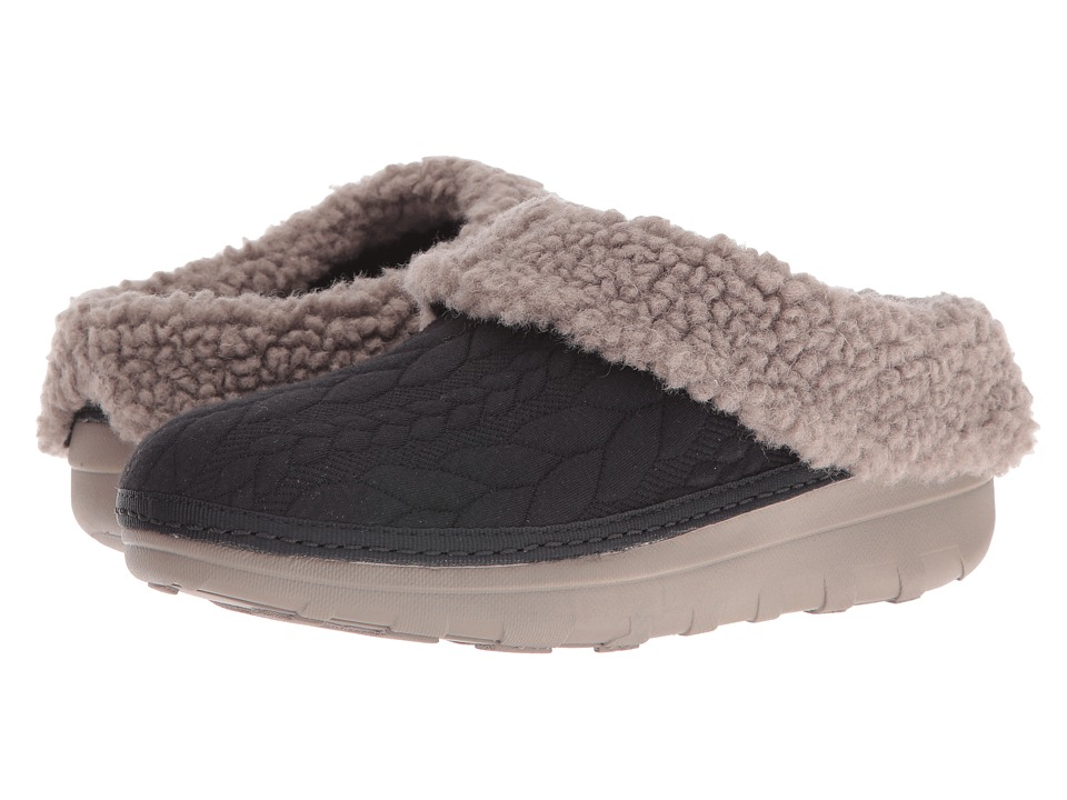 FitFlop - Loaff Quilted Slipper (Black) Women's Slippers
