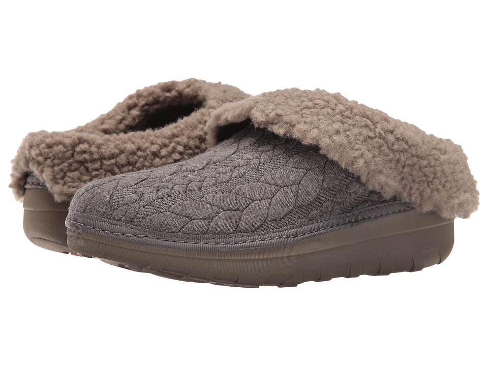 FitFlop - Loaff Quilted Slipper (Charcoal) Women's Slippers