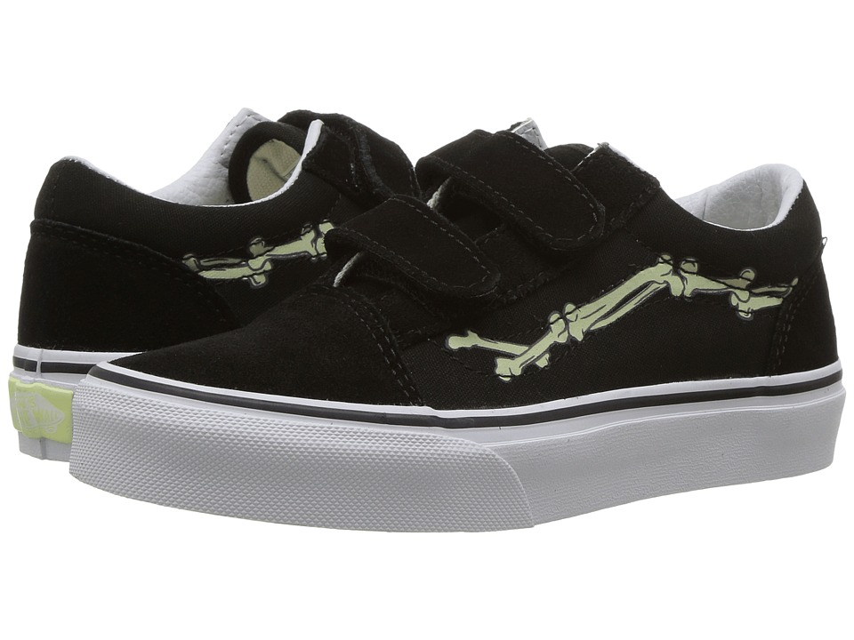 Vans Kids - Old Skool V Glow (Little Kid/Big Kid) ((Glow Bones) Black/True White) Boys Shoes