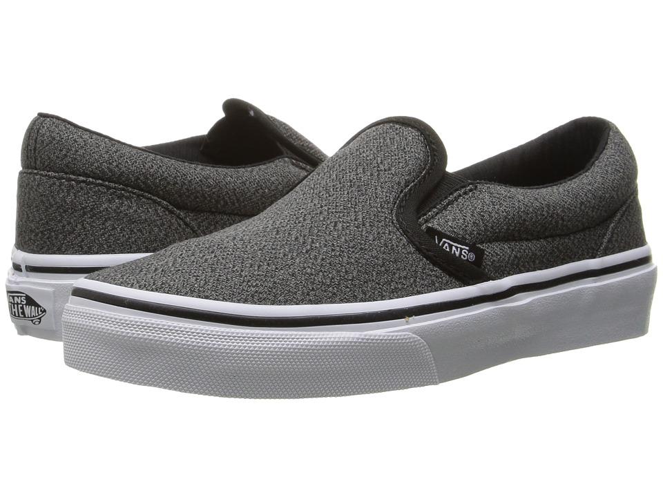 Vans Kids - Classic Slip-On (Little Kid/Big Kid) ((Suiting) Black/True White) Boys Shoes