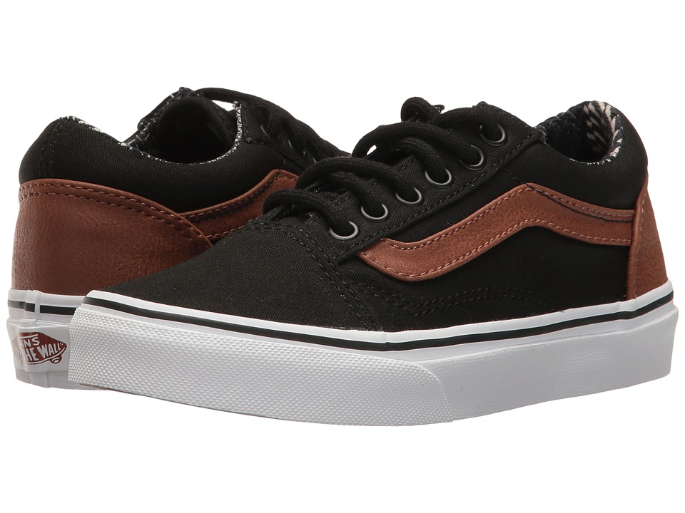 Vans Kids - Old Skool (Little Kid/Big Kid) ((C&L) Black/Material Mix) Boys Shoes