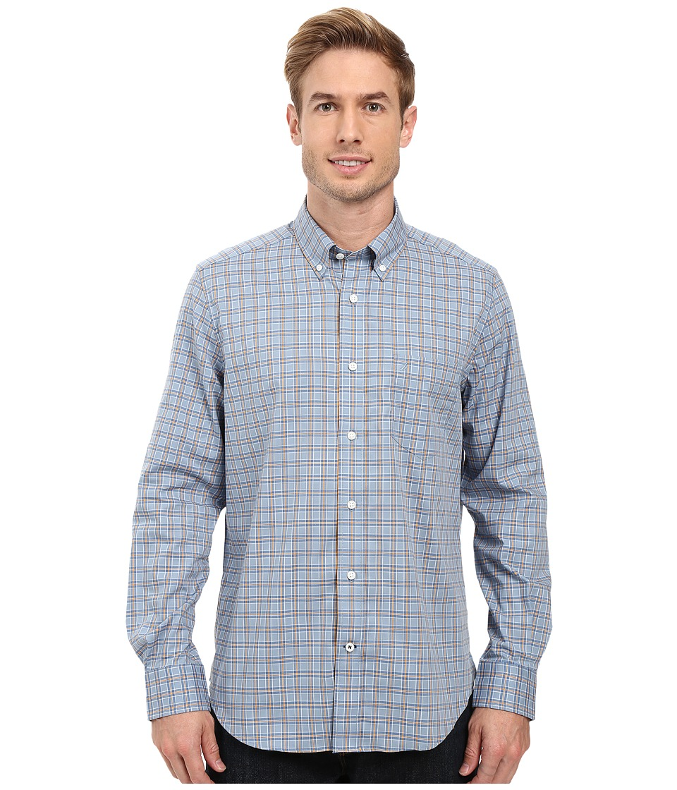 Nautica - Long Sleeve Wrinkle Resistant Pocket Shirt (Anchor Blue) Men's Long Sleeve Button Up