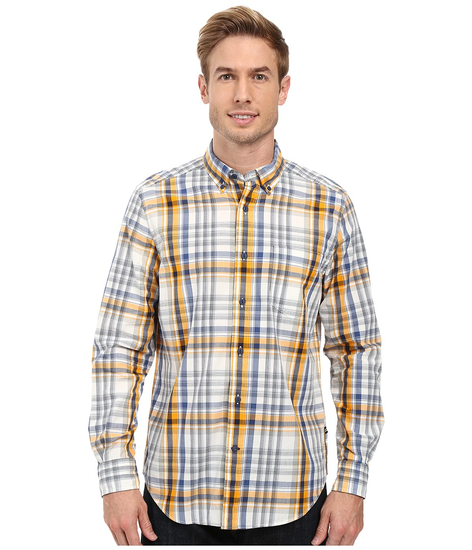 Nautica - Long Sleeve Large Plaid Pocket Shirt (Whitecap) Men's Long Sleeve Button Up