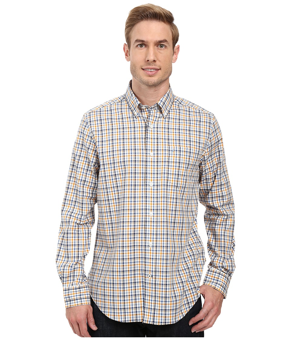 Nautica - Long Sleeve Wrinkle Resistant Medium Plaid Shirt (Sail White) Men's Long Sleeve Button Up