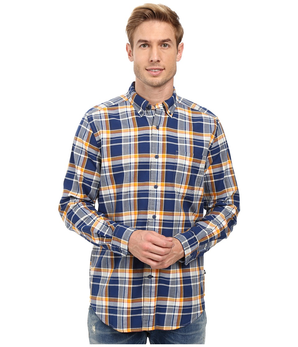 Nautica - Long Sleeve Large Plaid Pocket Shirt (Marine Blue) Men's Long Sleeve Button Up