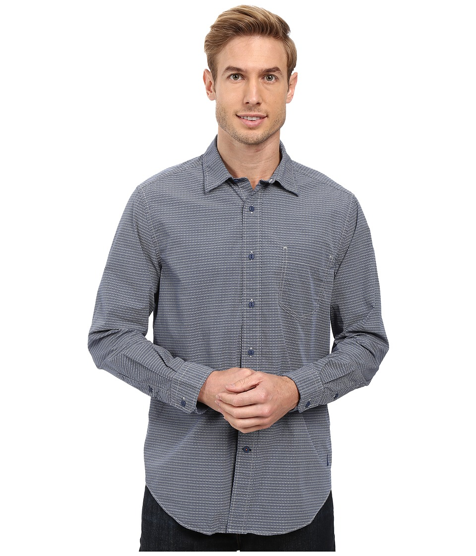Nautica - Long Sleeve Printed Pocket Shirt (Boardwalk Blue) Men's Long Sleeve Button Up