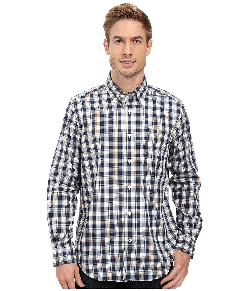 Nautica - Long Sleeve Wrinkle Resistant Medium Plaid Shirt (Mood Indigo) Men's Long Sleeve Button Up