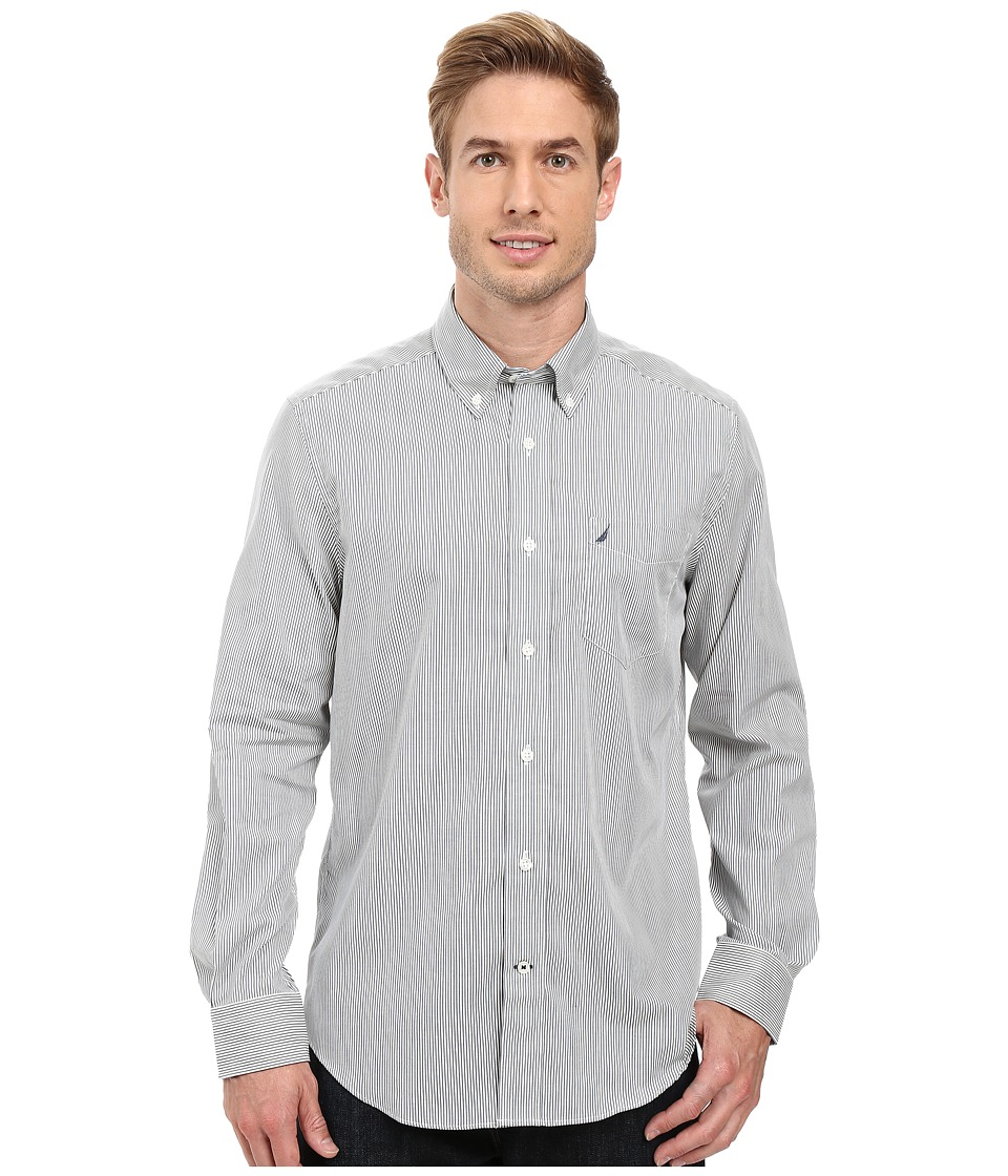 Nautica - Long Sleeve Wrinkle Resistant Stripe Print Shirt (Bayberry Blue) Men's Long Sleeve Button Up