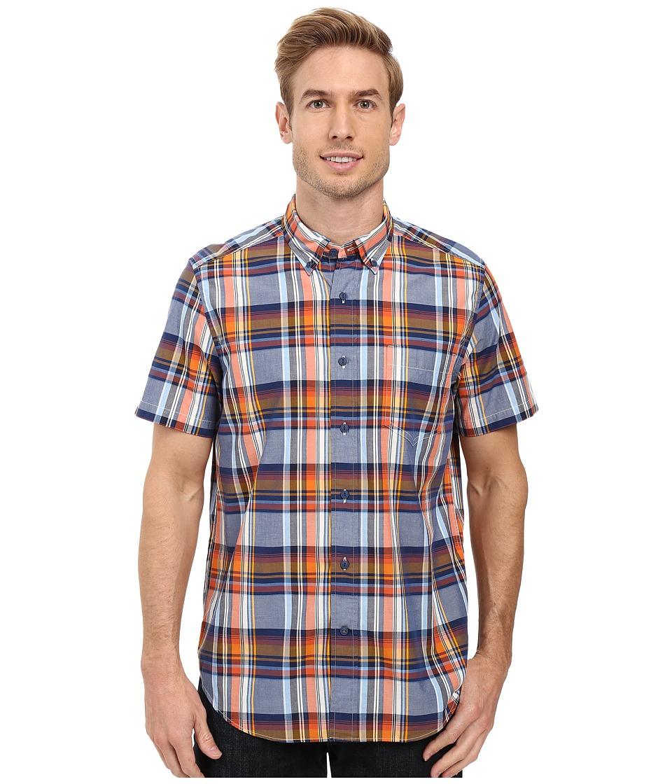 Nautica - Short Sleeve Large Plaid Pocket Shirt (Marine Blue) Men's Short Sleeve Button Up
