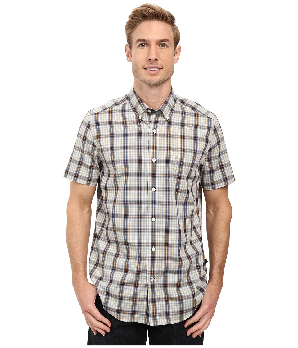 Nautica - Short Sleeve Wrinkle Resistant Medium Plaid Shirt (Seashore Grey) Men's Short Sleeve Button Up