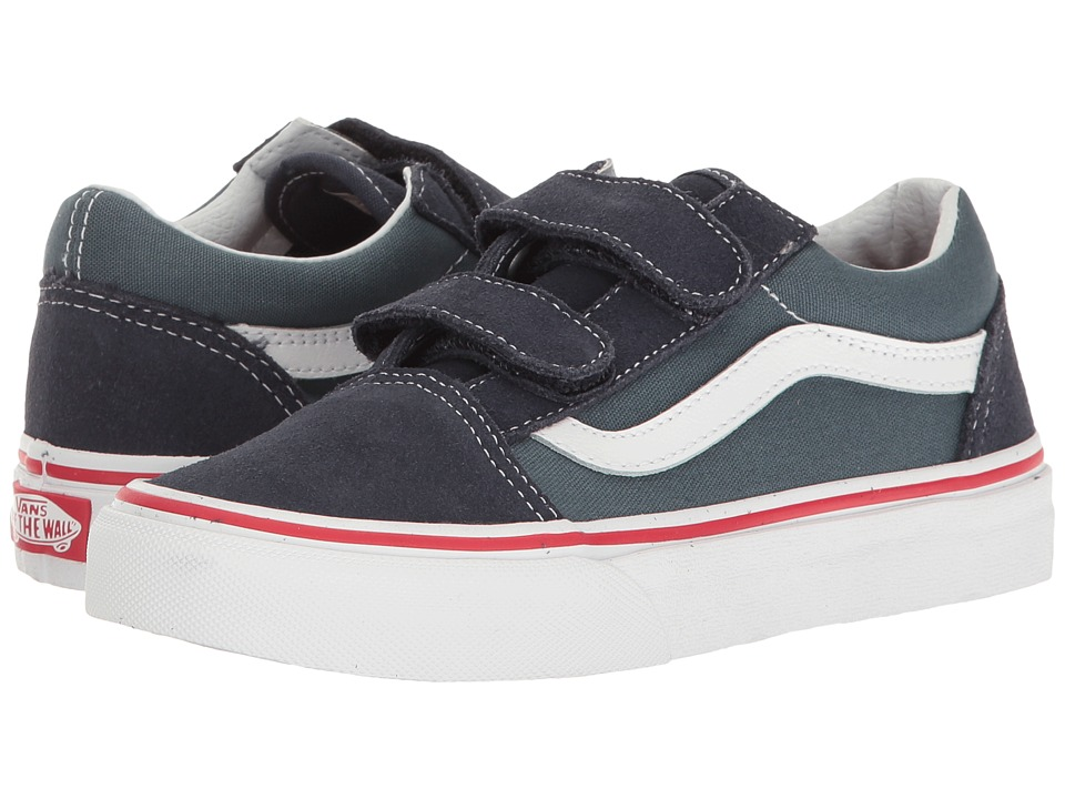 Vans Kids - Old Skool V (Little Kid/Big Kid) ((Two-Tone) Parisian Night/Dark Slate) Boys Shoes
