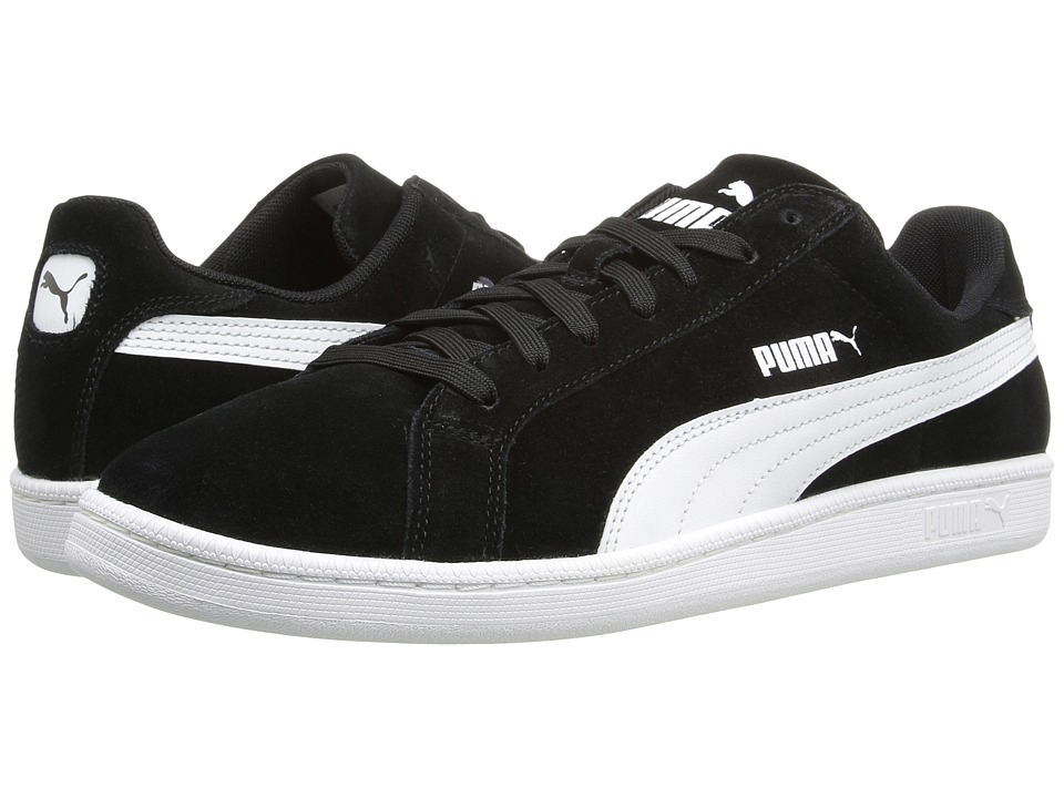 PUMA - Smash Suede Leather (Black/White) Men's Shoes
