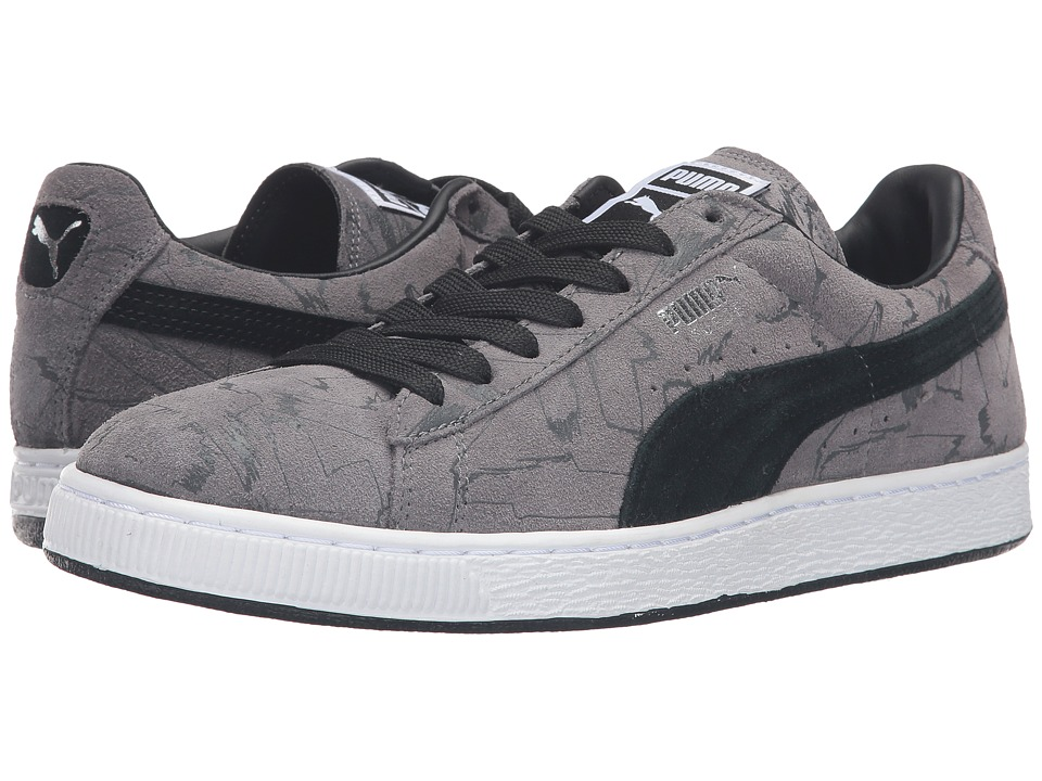 PUMA - Suede Brush Emboss (Steel Gray/Black/Dark Shadow) Men's Shoes