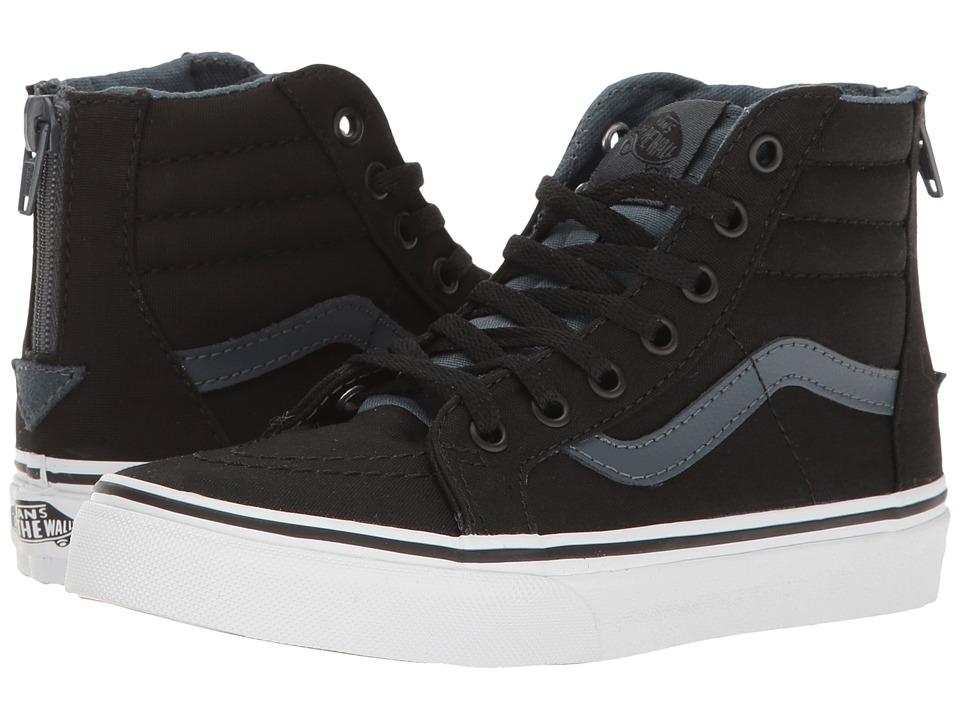 Vans Kids - Sk8-Hi Zip (Little Kid/Big Kid) ((Canvas) Black/Dark Slate) Boys Shoes