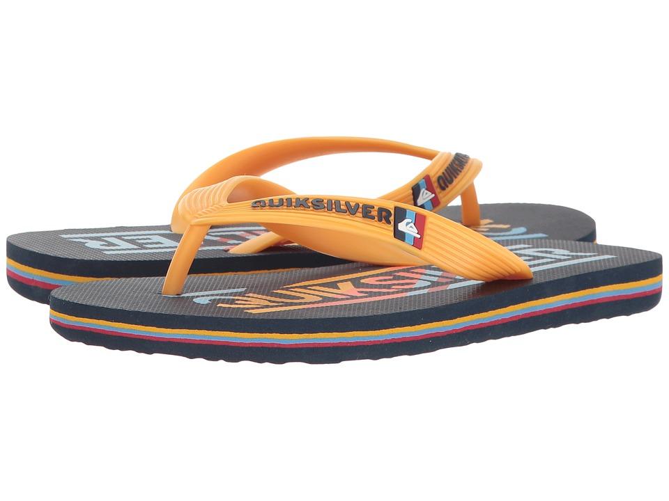 Quiksilver Kids - Molokai Wordmark (Toddler/Little Kid/Big Kid) (Blue/Blue/Orange) Boys Shoes