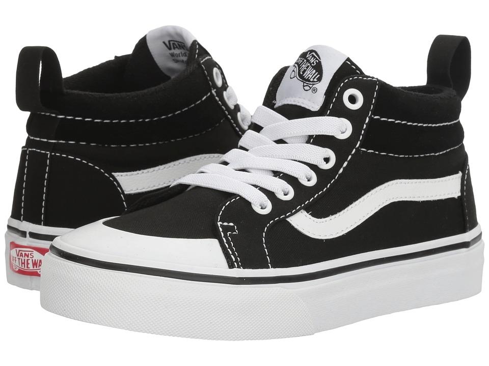 Vans Kids - Racer Mid (Little Kid/Big Kid) ((Canvas) Black/True White) Boys Shoes
