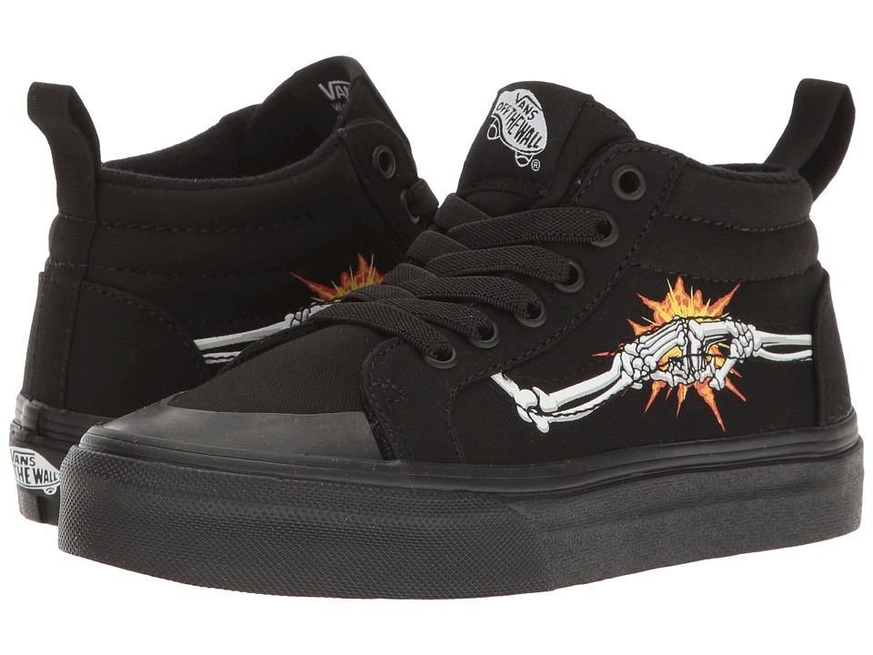 Vans Kids - Racer Mid (Little Kid/Big Kid) ((Canvas) Bones/Black) Boys Shoes