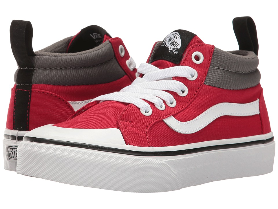 Vans Kids - Racer Mid (Little Kid/Big Kid) ((Canvas) Racing Red/Pewter) Boys Shoes
