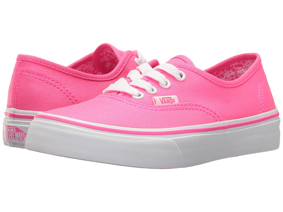 Vans Kids - Authentic (Little Kid/Big Kid) ((Neon Splatter) Neon Pink/True White) Girls Shoes