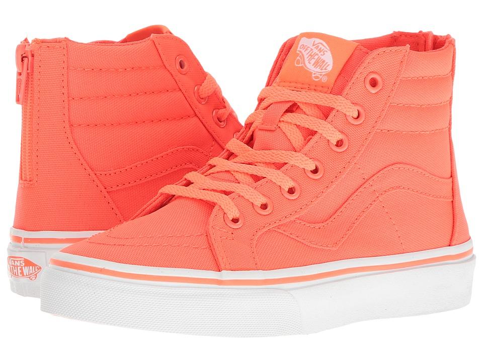 Vans Kids - Sk8-Hi Zip (Little Kid/Big Kid) ((Neon Canvas) Coral/True White) Girls Shoes