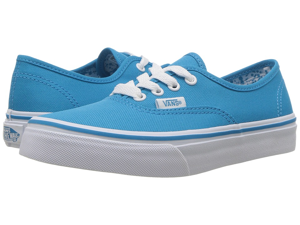 Vans Kids - Authentic (Little Kid/Big Kid) ((Neon Splatter) Neon Blue/True White) Girls Shoes